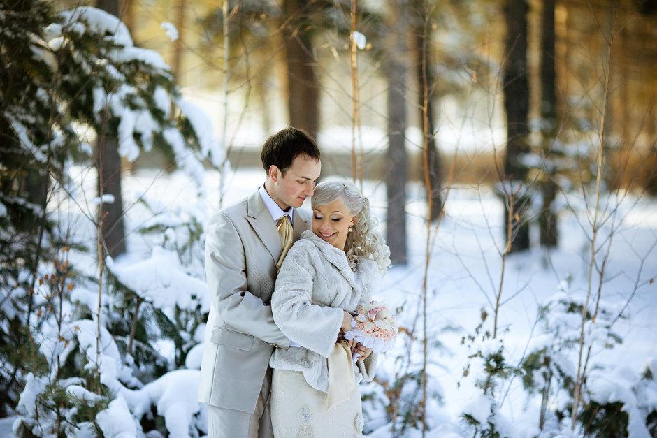 Фотосессия свадьбы зимой фото