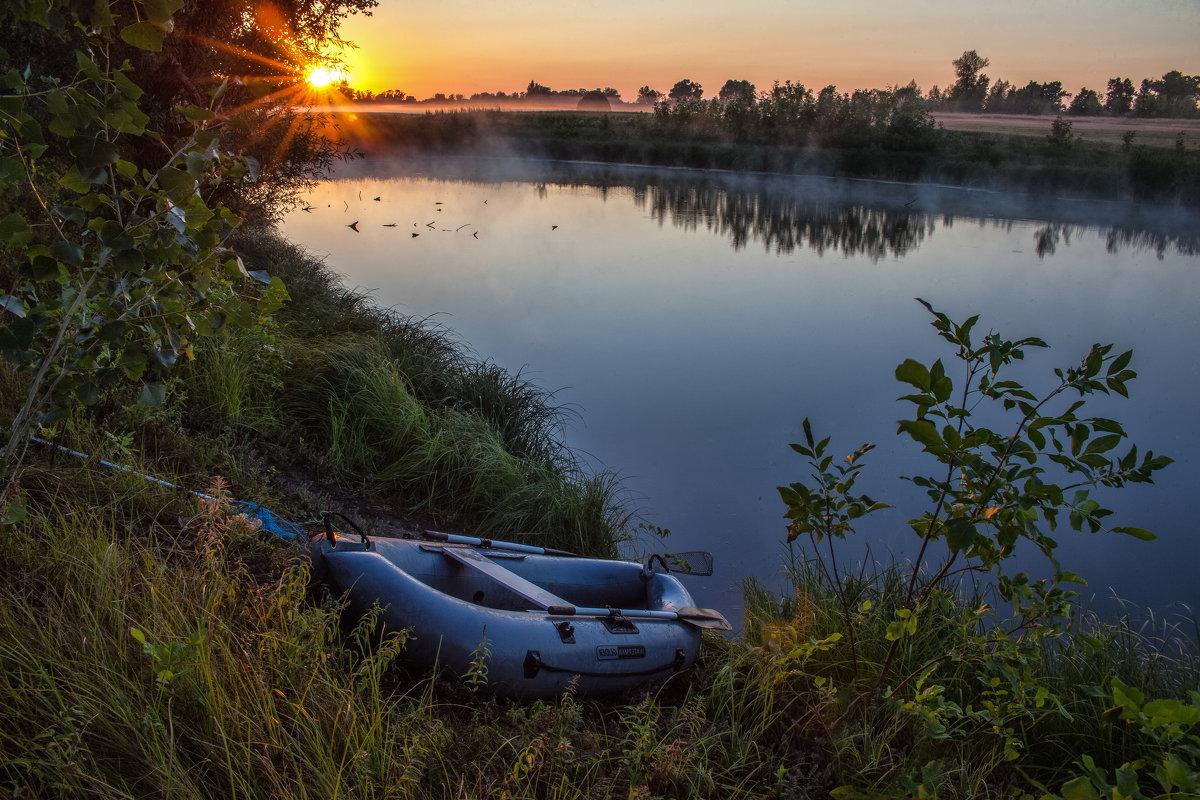 пейзаж рыбалка на озере