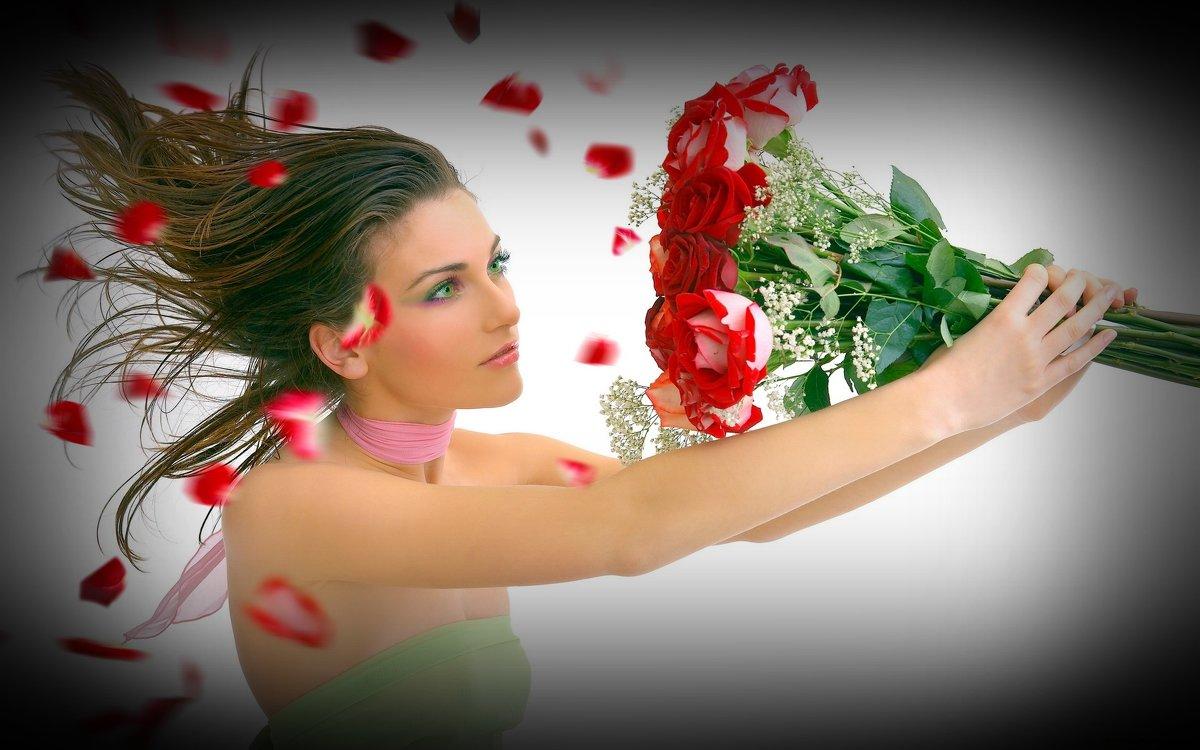 Открытка девушка с цветами