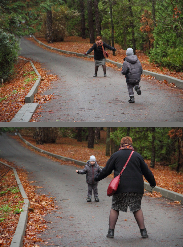 1.Бабушка - лови, я бегу!  2. А теперь внучек, бегу я! - Larisa Gavlovskaya