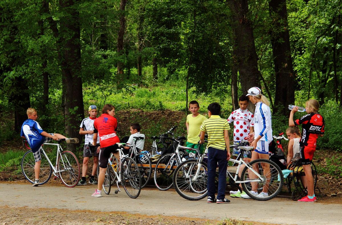Команда велосипедистов в ботаническом саду - Светлана