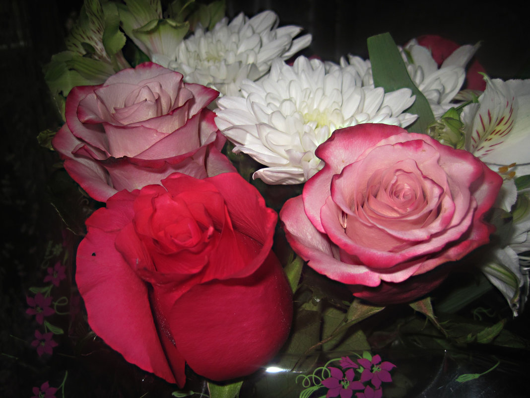 Букет из роз и хризантем - Елена Семигина