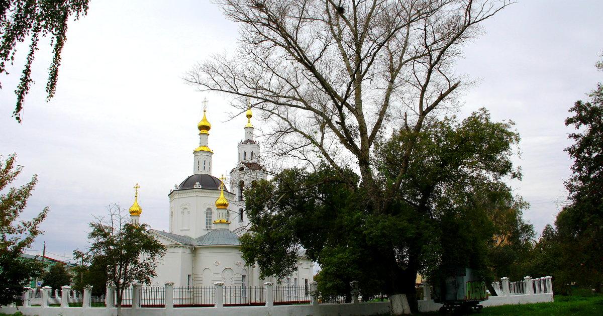 Пейзаж с Богоявленской церковью. - Борис Митрохин