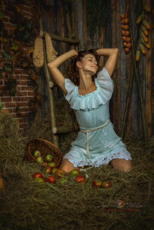 """Картина """"Девушка с яблоками"""" - Андрей Володин"""