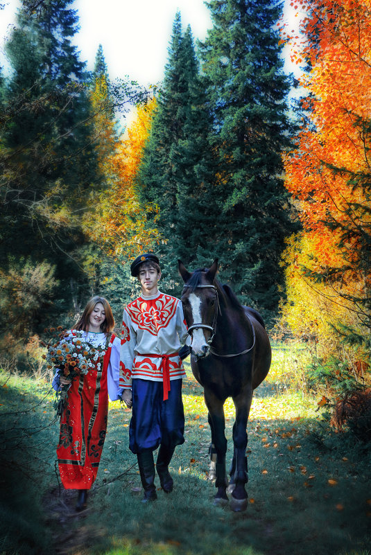 Парочка и конь Скрипач. - Марина Кузьмина