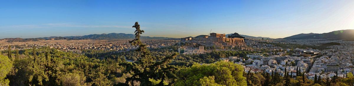 Вид с холма Филопаппу на Афины и Акрополь - Владимир Брагилевский