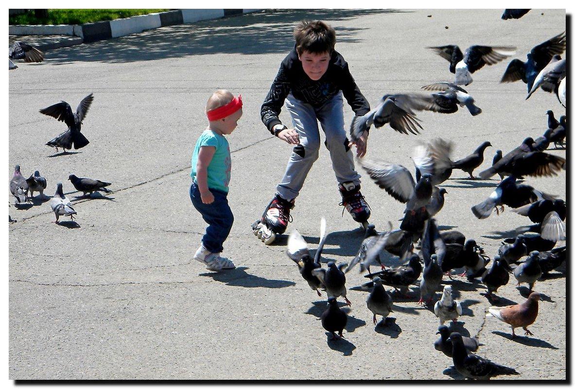 Дети  и  голуби. - Ivana
