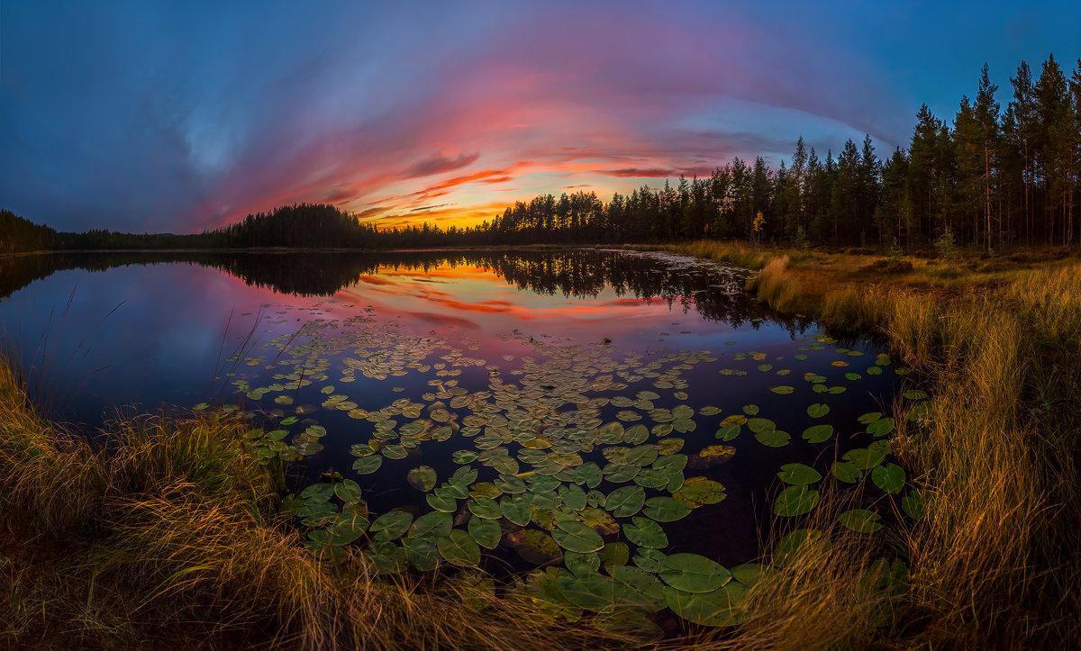 Осенние сумерки на озере. - Фёдор. Лашков