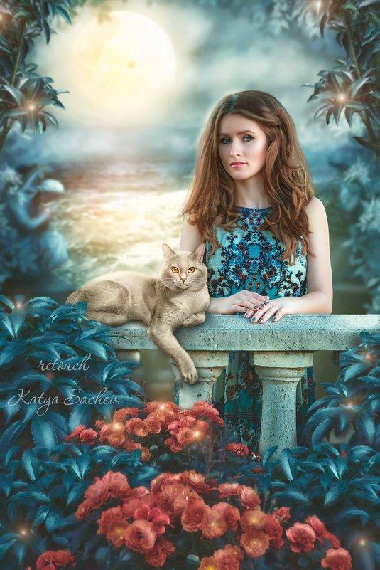"""Коллаж """"Девушка и кот"""" - Екатерина Сачева"""
