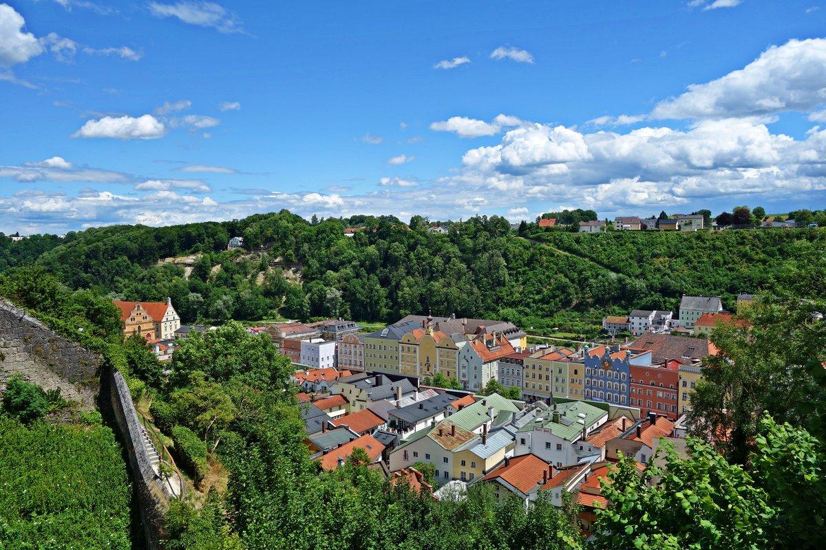 Вид из средневековой крепости на город Бургхаузен .... - Galina Dzubina