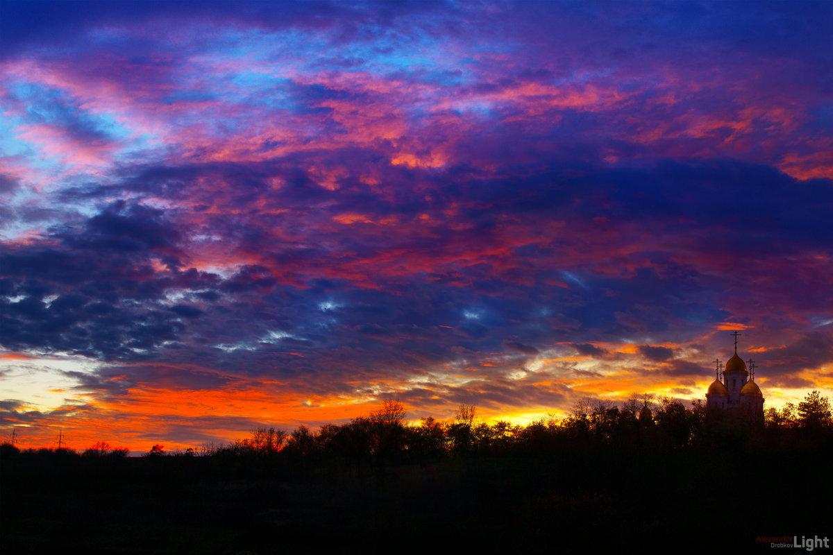 Церковь Всех Святых на Мамаевом Кургане на фоне закатных минут - Александр Дробков