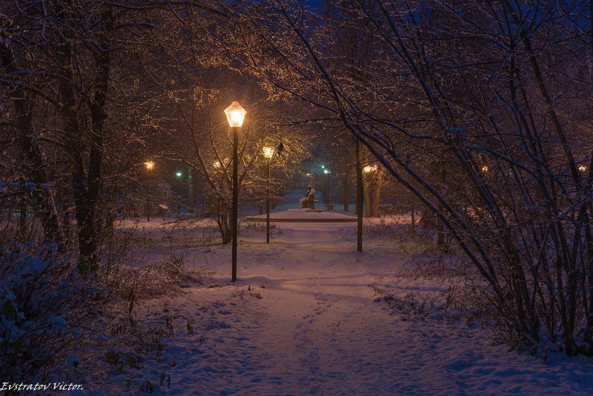 Снежное утро в парке. - Виктор Евстратов