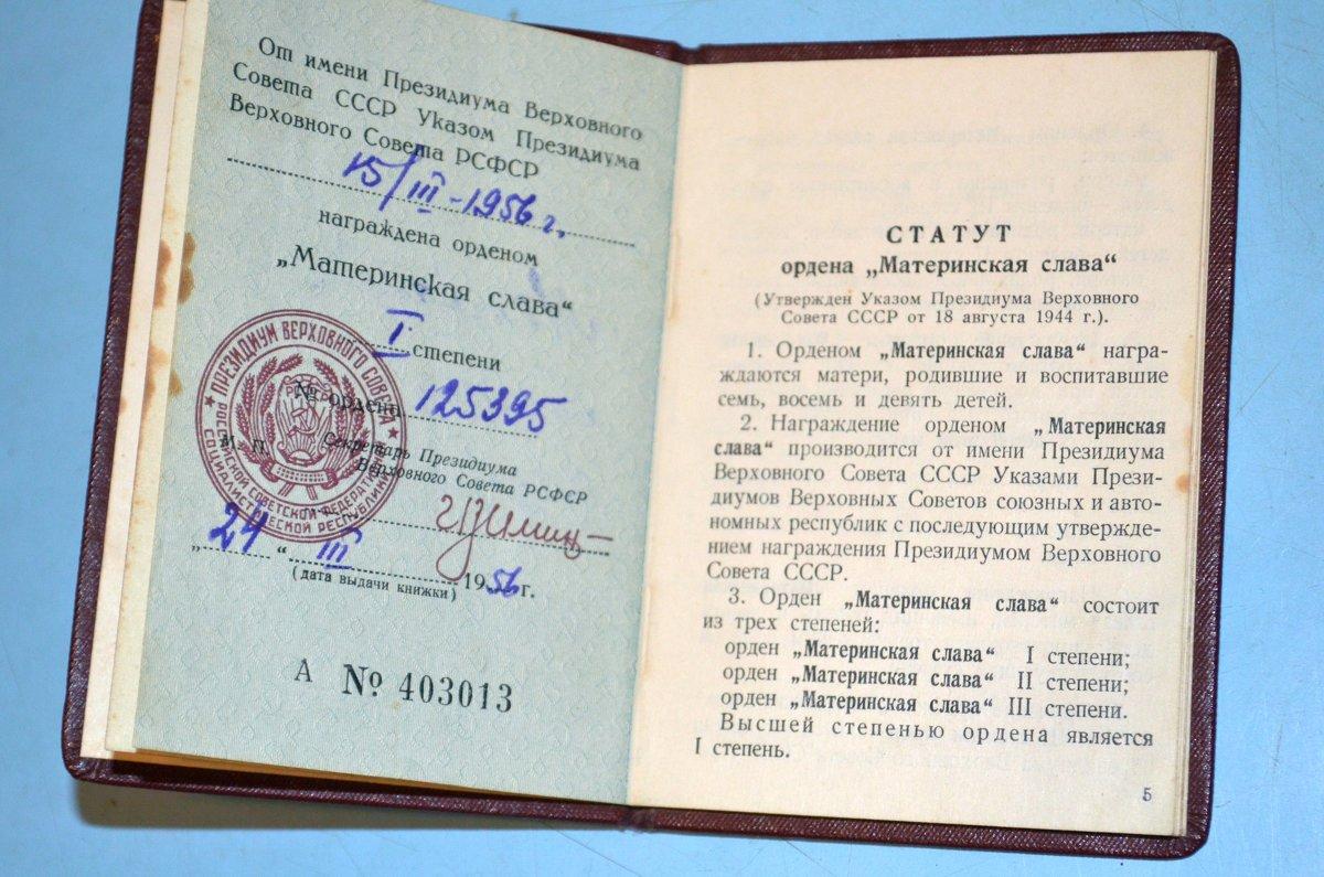 """Книжка """"Материнская слава"""" 1 степени - Владимир Перваков"""