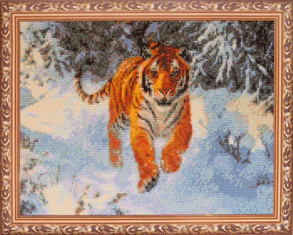 Картина стразами «Тигр в зимнем лесу» - genar-58 '