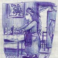 Светлана Романовна собирает со стола на веранде. :: Роман Деркаченко