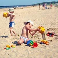 дети на пляже :: linnud