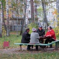 Безмятежно счастливый возраст за карточным столом во дворе. :: Мила Бовкун
