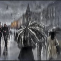 Дождь по асфальту рекою струится... :: Лариса Шамбраева