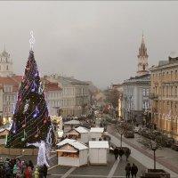 Прибытие рождественского паровозика на Ратушную площадь Вильнюса :: Виктор (victor-afinsky)