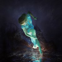 woman, water, darkness, light, dress, hair, swim, bubbles, underwater :: Дмитрий Лаудин