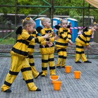 Group of little girls on stage in costume bee :: Сергей