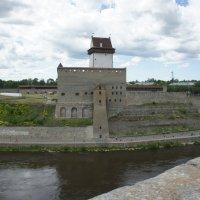 Замок Нарва с Пороховой башни Ивангорода. Справа Ратуша :: Елена Павлова (Смолова)