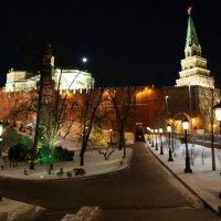 фрагмент московского кремля зимней ночью под луной :: Олег Лукьянов