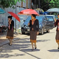 Лаос. Вьентьян. Сотрудницы филиала тайского банка любят фрукты :: Владимир Шибинский