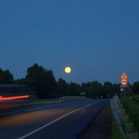 Ночной мост и Луна. :: Анатолий Мамичев