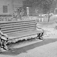 Скамейка. Первый снег. :: Григорий Иванов
