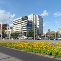 Бизнес центр на фоне перекрестка с цветами :: Диана Одинцова
