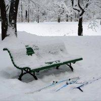 зимний пейзаж с лыжами и скамьёй :: sv.kaschuk