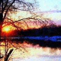Догорает закат над рекой ... :: Евгений Юрков