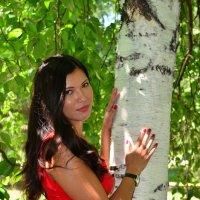 Девушка в красном платье около березы :: Сергей Тагиров