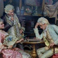Алматы. Риччи Артуро, 1854-? Италия. За шахматной доской.Холст. масло. :: Murat Bukaev