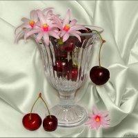 Цветы кактуса и черешня :: °•●Елена●•° Аникина♀