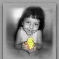 На руке моей цыплёнок,  словно Солнышко горит... :: Людмила Богданова (Скачко)