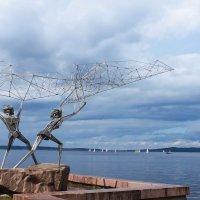 """Скульптура """"Рыбаки"""" на Онежской набережной Петрозаводска :: Avada Kedavra!"""