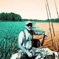 Любитель рыбного лова на фоне зарослей телореза алоэвидного :: Евгений Золотаев