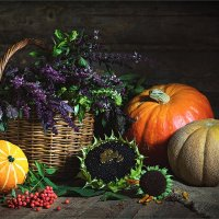 Осенний натюрморт с тыквами и дыней :: Ирина Лепнёва