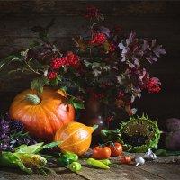 Натюрморт с осенними овощами и калиной :: Ирина Лепнёва