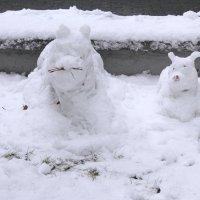 Скульптурки из первого снега. :: Наталья Золотых-Сибирская