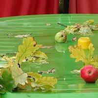 Столик,листва и яблоки :: Владимир Гилясев