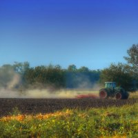 Трактор в поле дыр, дыр, дыр, мы за мир! :: Сергей Михайлов