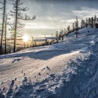 Ski slope at sunset :: Dmitry Ozersky