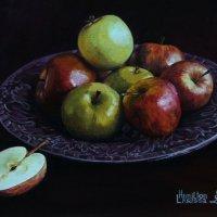 """Яблоки на тарелке"". Картина написана маслом. :: Лара Гамильтон"