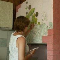 На даче отца облагоражеваем печь 2005 г. :: Екатерина Климова