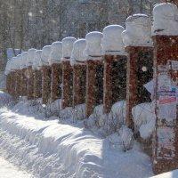 "снежные ""шапки"" на коллонах забора :: Вячеслав Афанасьев"