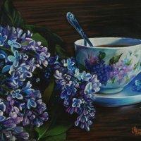 Сиреневой сирени салют с чайком ароматным Вас ждут. (Картина написана пастелью). :: Лара Гамильтон