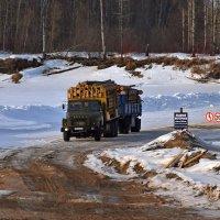 лесовоз на переправе :: Леонид Чащин